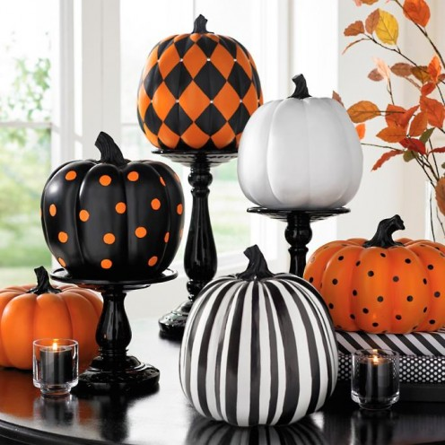 If you're not a crafty crafter, purchase a few designer pumpkins for a grand table display.