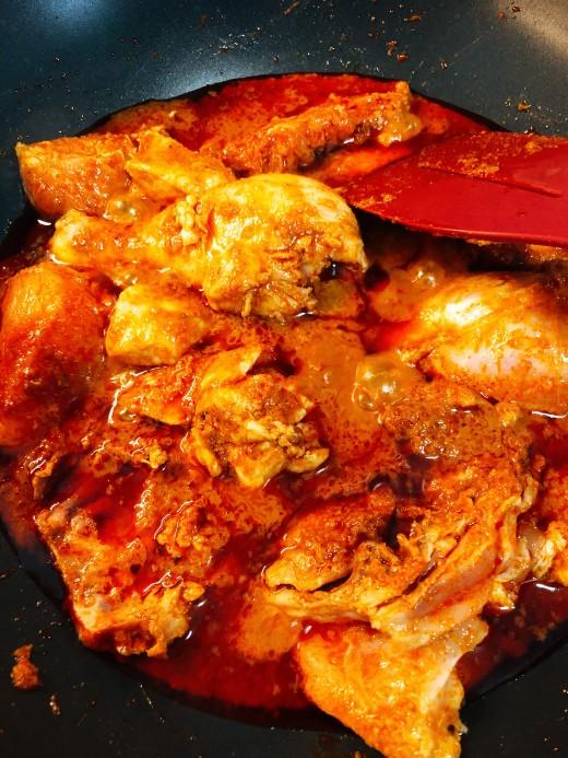 Add the chicken.
