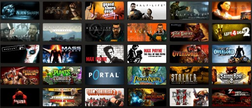 Steam games in the steam client store.