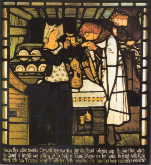Sir Tristram and la Belle Ysoude drinking the love potion, commissioned from Morris, Marshall, Faulkner & Co. by Walter Dunlop for Harden Grange near Bingley Yorkshire. Designed by Dante Gabriel Rossetti.