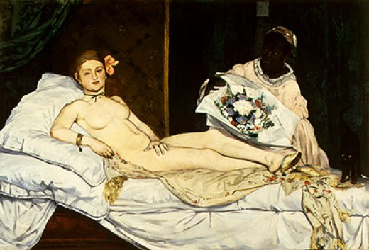 """OLYMPIA"" BY MANET (1863) IS IN THE MUSEE D'ORSAY IN PARIS"