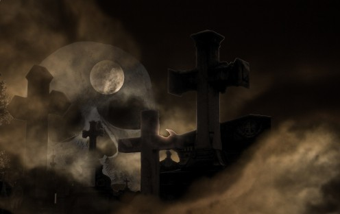 Cemetery Decomposing Skull and Crossbones Fog Weird Quotes