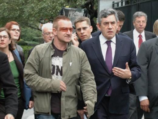 Ex - P M Gordon Brown with Bono.