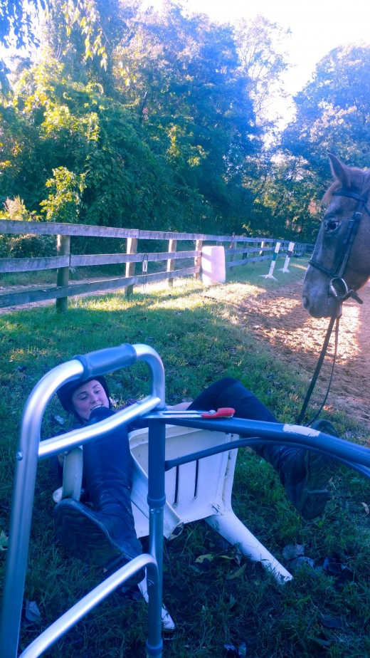 You know you have a good pony when she just stands there like a rock when her rider flips over backwards in her chair!