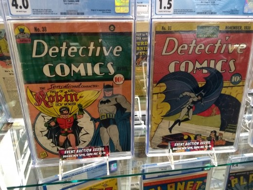 Two early issues of Detective Comics starring Bat-Man. The issue on the left was the debut of Robin.