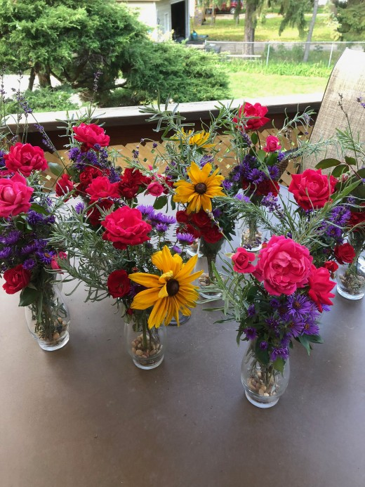 Dollar Store vases purchased for another event now finding another purpose.
