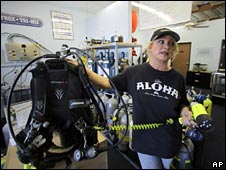 Diver Sandra McGill said squid ripped-off diving gear  Credit:  BBC News Photo