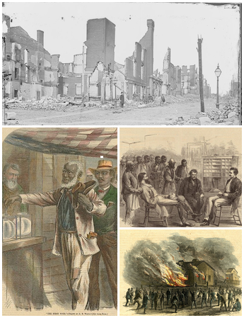 Reconstruction Era photograph, two Harpers Weekly Reconstruction related pictures, and a Freedmen's Bureau picture.