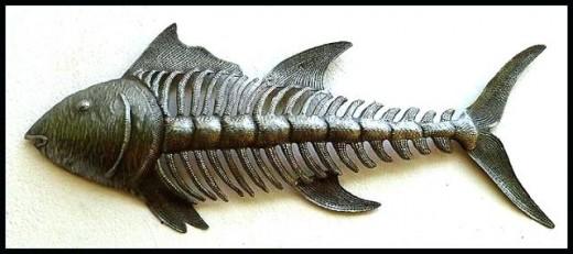 Skeletal fish sculpture