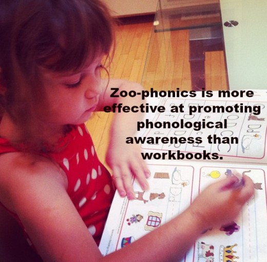 Zoo-phonics promotes phonological awareness through music, movement, and games, not paper-pencil tasks.