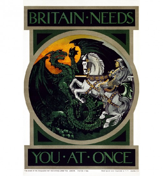 Your country needs your help right now. First World War British recruitment poster with attention-grabbing slogan.
