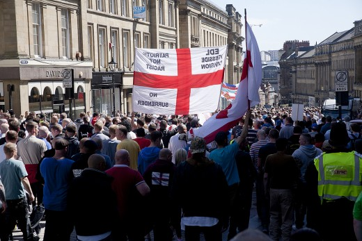 Image of The English Defence League set up by Tommy Robinson.  This picture shows EDL protesters.
