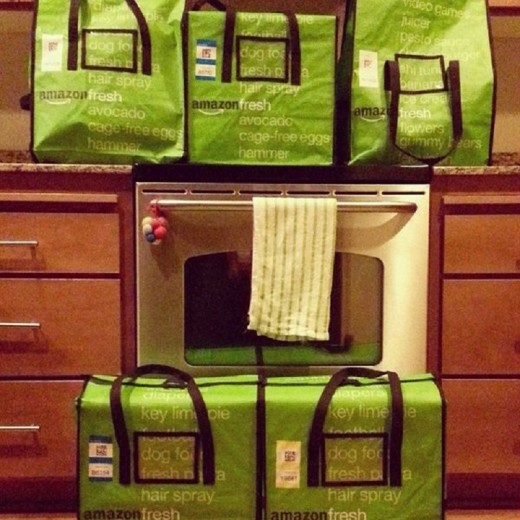 Fresh food ordered online is delivered in insulated cool totes like these.
