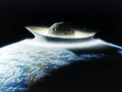 An artist's imagination of an asteroid impact