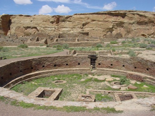 Pueblo Bonito and Great Kiva (foreground) at Chaco Canyon