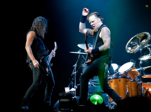 Kirk Hammett and James Hetfield are on stage in London, England on September 15, 2008.