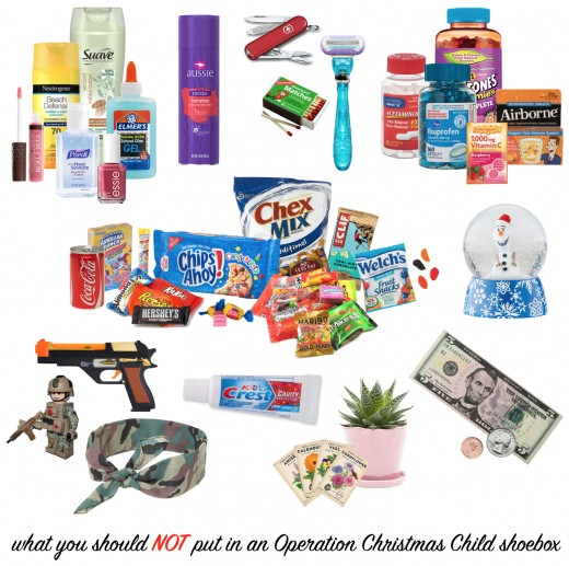 Things you shouldn't include in an Operation Christmas Child shoebox.