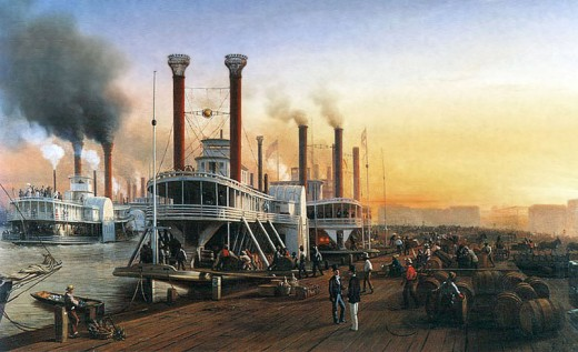 A blast from the past - Mississippi River steamboat at New Orleans in 1853.