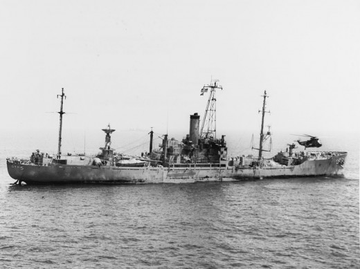 The USS Liberty after the attack.