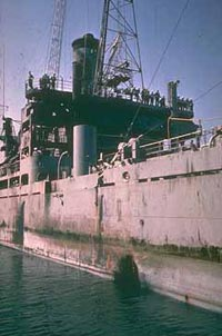 Torpedo damage to the USS Liberty,