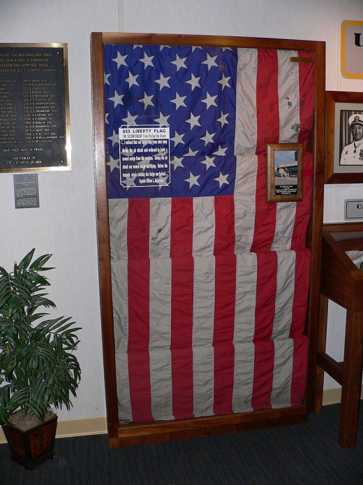 The USS Liberty exhibit at the National Cryptologic Museum.  This is the holiday ensign flying on the USS Liberty when it was attacked by Israeli Torpedo Boats.