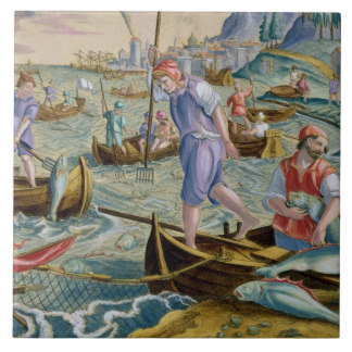 A contemporary Mannerist painting of fishermen working on the Arno with tridents and nets. Georgio, who marries Angelica, is a fisherman on the Arno. Her everyday life is explored through this relationship.