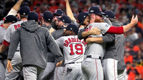 Pitchers David Price and closer Craig Kimbrel embrace as the celebration begins after the Red Sox clinched the ALCS.