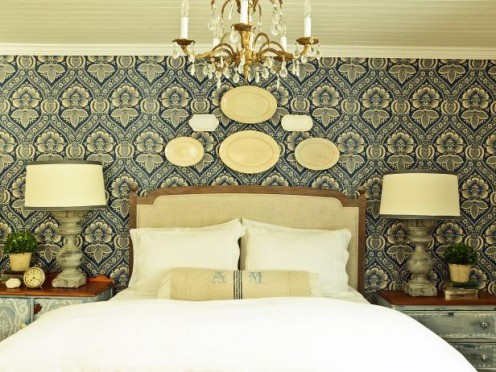 Transform a bland painted wall into a trendy focal point with designer fabric.