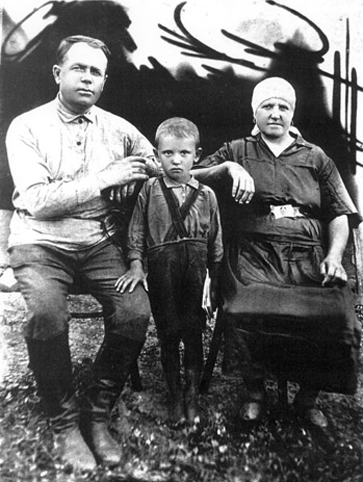 Gorbachev with his grandparents.
