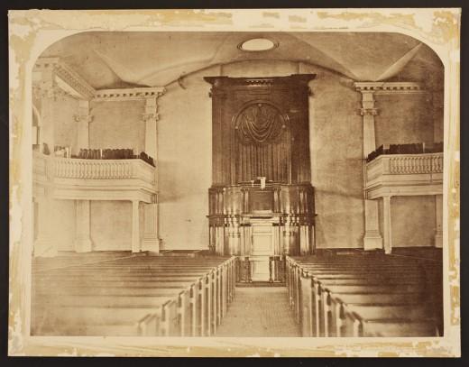 Interior of a church in Boston, MA.