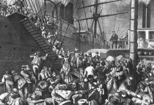 Sketch - emigrants board a ship bound for the United States