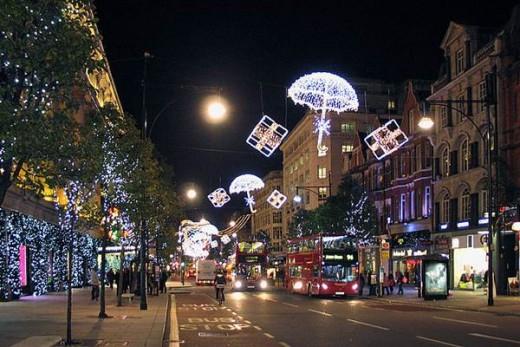 Christmas season on Oxford Street