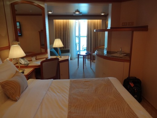 Our mini-suite with a balcony. The quarters are spacious and comfortable.