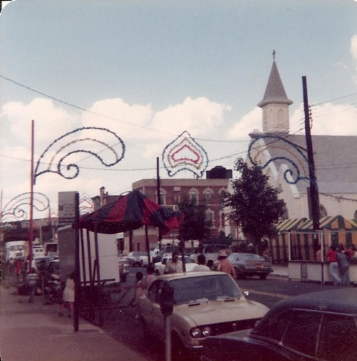 "St. Rosalia Church decorated for ""the feast"", circa 1979."