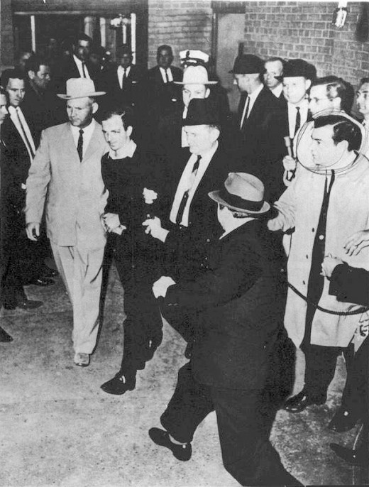 A moment before Jack Ruby fatally shoots Lee Harvey Oswald.