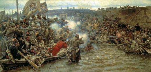 A famous painting of the Russian conquest of Sibir, although somewhat inaccurate in that the Sibir troops had their own guns as well... an excellent propaganda piece and depiction of the Russian civilizing mission.