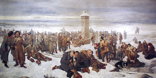 Polish prisoners being driven into exile in Siberia