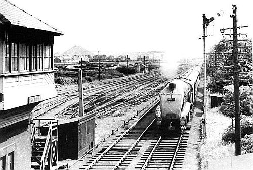 Last bit not least, here's A4 60028 'Walter K Whigham' passing the signal cabin by the junction at Fencehouses with a Down express in 1959