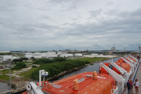 A view from the upper deck on Carnival Inspiration. Lifeboats obstruct your view though.