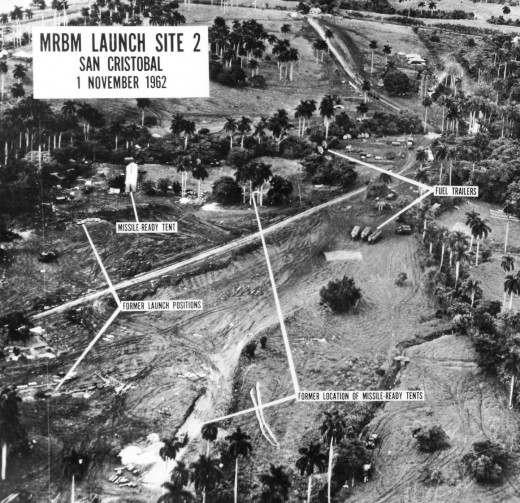 U.S. aerial reconnaissance photograph of a medium range ballistic missile launch site at San Cristobal in Cuba, on 1 November 1962 during the Cuban missile crisis