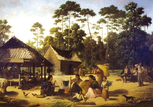 Choctaw Indian Village painting by Francois Bernard