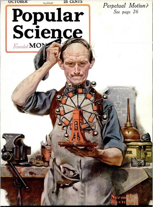 Norman Rockwell shows a puzzled tinkerer on the cover of Popular Science, October 1920.