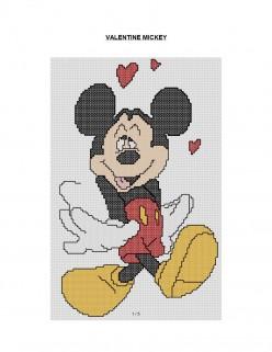 Valentine Mickey Mouse Cross Stitch Pattern