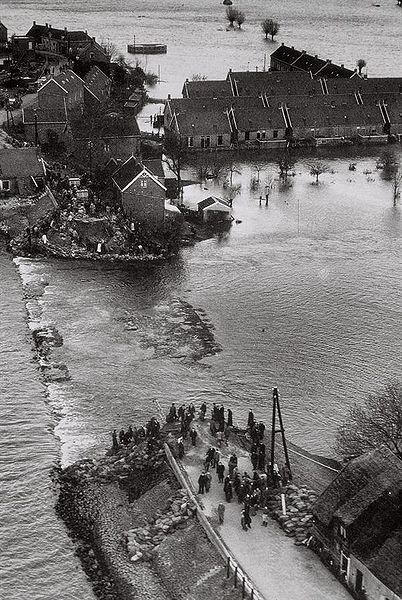 Dike Breach in Den Bommel, in South Holland, as a result of the flood in 1953