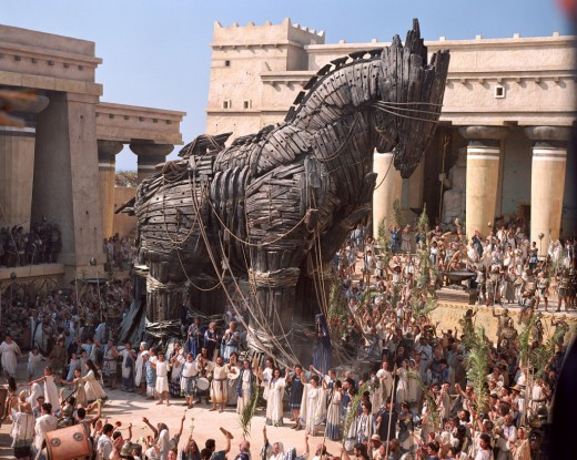 After 10 years of war, the Greek succeeded to destroy the city of Troy, by tricking the trojans with this wooded horse. In the horse warriors were hiding, who opened the door of the city once the Trojans were had fallen asleep