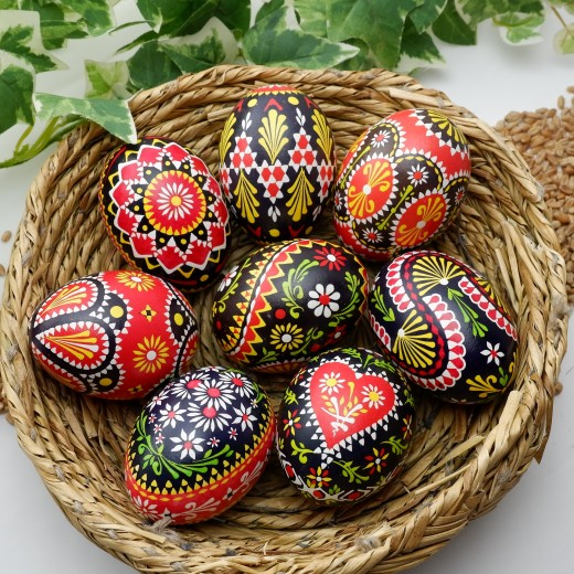 A basket of Sorbian hand painted Easter eggs.  Learn how to decorate at https://germangirlinamerica.com/sorbian-easter-eggs/