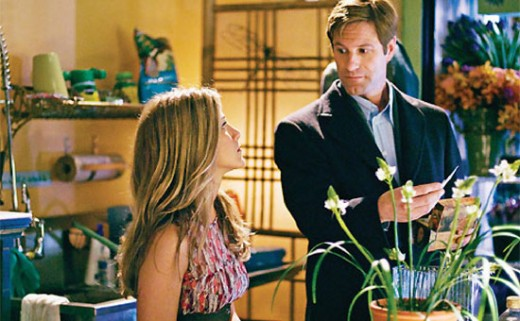 Actors Aaron Eckhart as the character Burke and Jennifer Aniston as the character Eloise in Love Happens the movie.