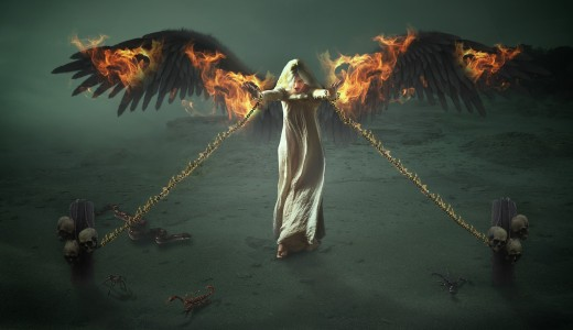 Restrained and burning angel