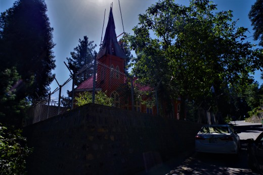 A historic church, under repairs, in Galyat, the Hill Stations.