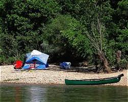 A campsite along the Buffalo River in Arkansas